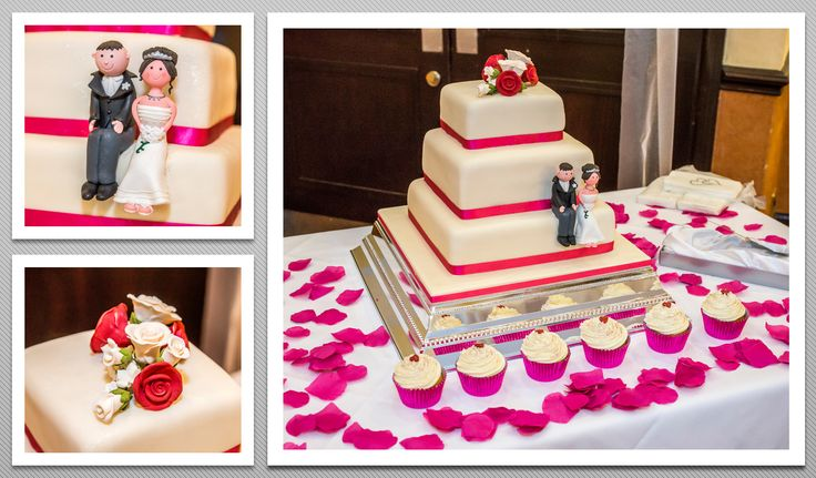 3 tier square shaped White cake with bright pink ribbon and the Newly Weds on the side.