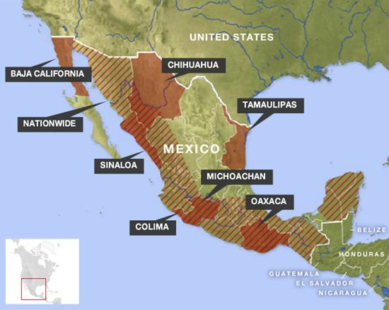 Map of the Mexican drug cartel territory