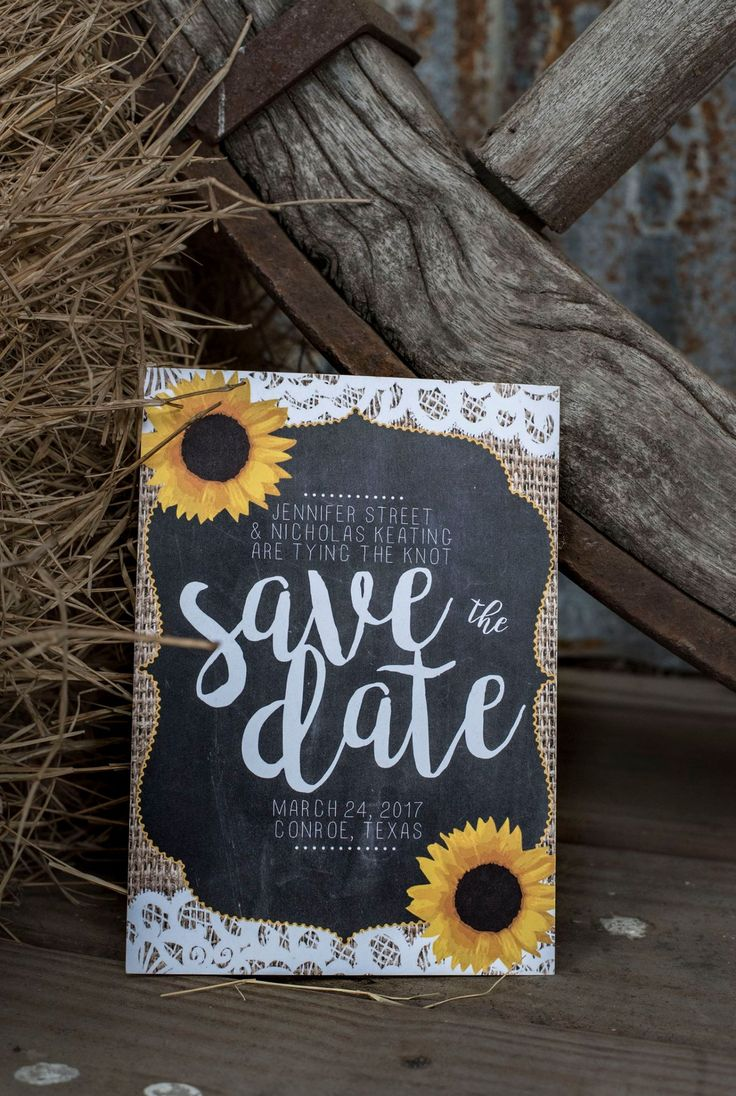 Sunflower and burlap wedding invitation. Rustic wedding save the date. Rustic save the dates. Sunflower wedding. Burlap wedding. Burlap and lace wedding. Outdoor wedding. Fall wedding. Cheap wedding invitations. Wedding etiquette. Chalkboard wedding invitations by Unica Forma