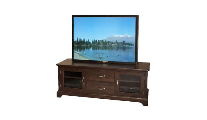 Beaumont Entertainment Unit. Available in 6 different stains of hardwood. For more information visit www.portfoliointeriors.ca/brand/canadian-wood-manufacturing