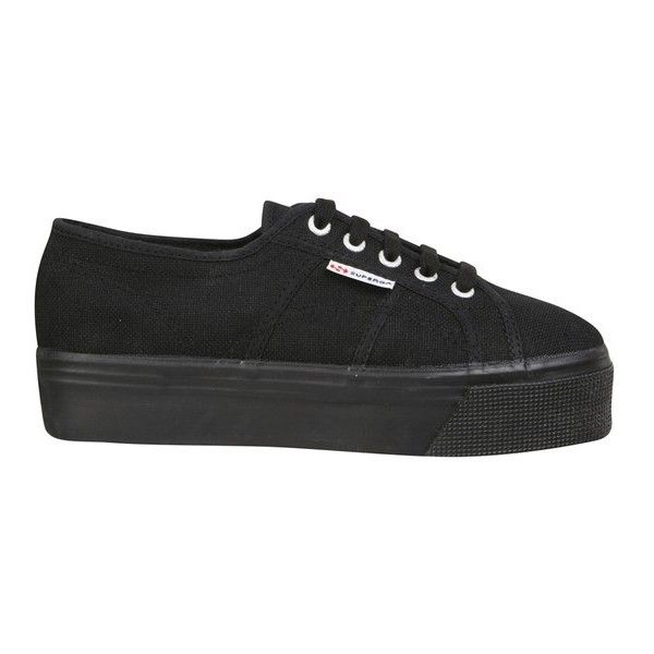 Superga Women's 2790 ACOTW Linea Up and Down Flatform Trainers - Full... (250 SAR) ❤ liked on Polyvore featuring shoes, sneakers, black, lace up sneakers, lace up shoes, black trainers, flatform shoes and low profile sneakers