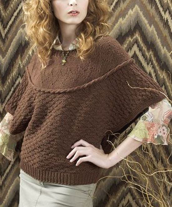 Free Knitting Pattern for Venice Pullover - Poncho top with kimono sleeves features a chevron design on yoke and mini diamond texture on body.  Worsted weight yarn. S (M, L, 1X, 2X, 3X) Designed by Susan Shildmyer
