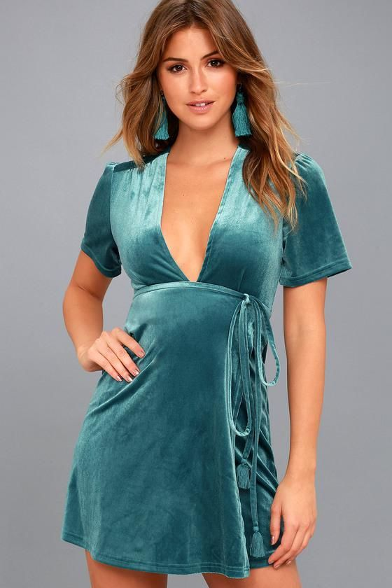 #Lulus - #Lulus Billabong / Lush For Life Teal Blue Velvet Wrap Dress / Size Large / Lulus - AdoreWe.com