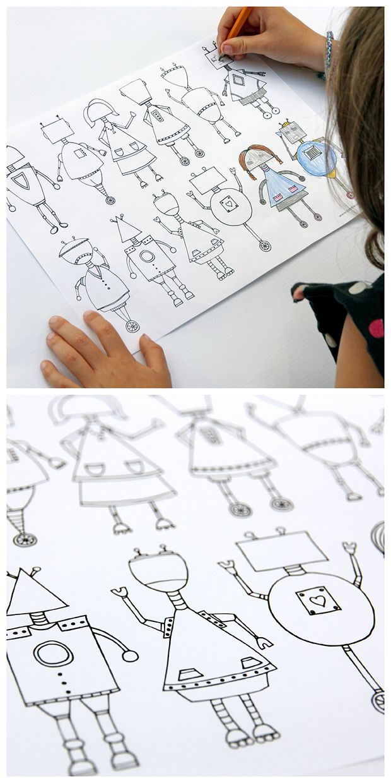 robot coloring page for kids - free printable