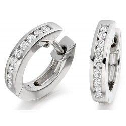 Cercei Creole Aur Alb 9kt cu 9 Diamante Rotund Briliant in Setare Canal - RDE027/9W