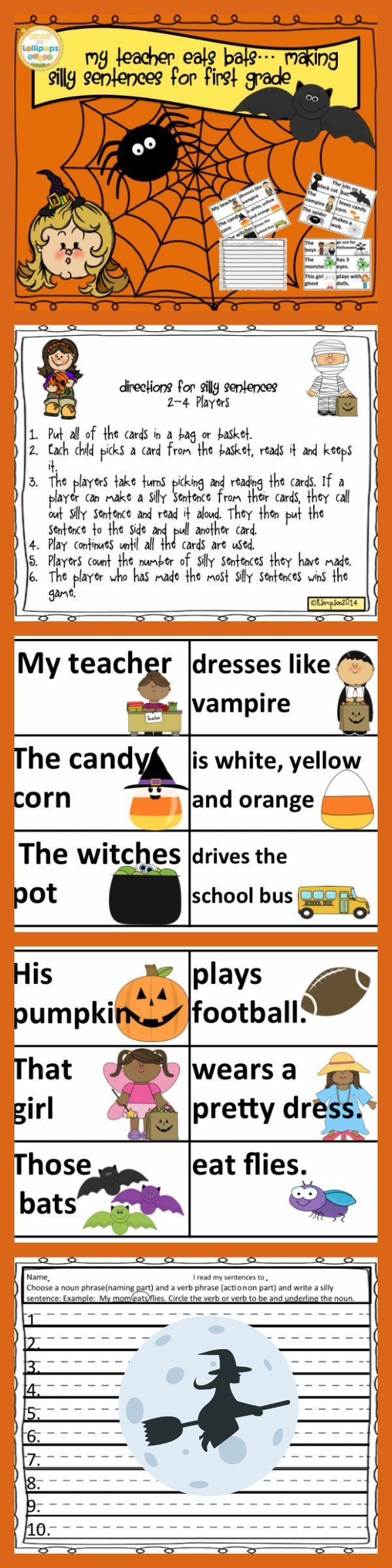 my teacher eats bats making silly halloween sentences for first grade simply cut laminate and. Black Bedroom Furniture Sets. Home Design Ideas