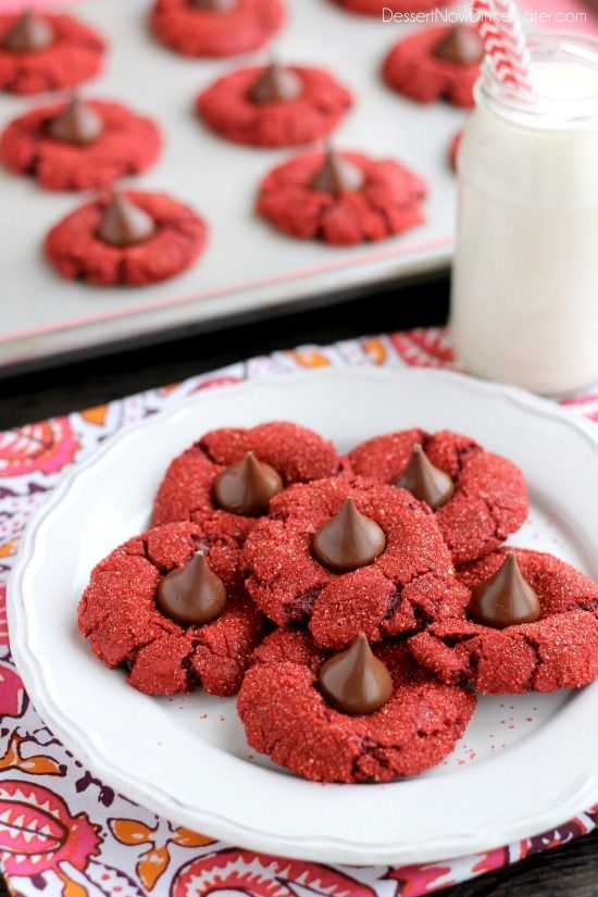 Red Velvet Blossoms - only 6 ingredients to make these chewy, chocolatey, red velvet cookies! Perfect for Valentine's Day or Christmas!