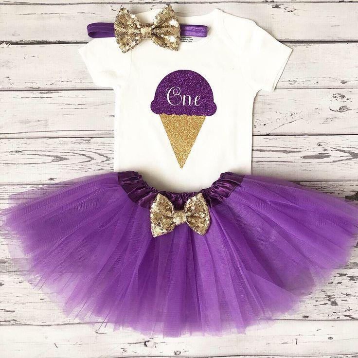 Traje de fiesta de cumpleaños de Ice Cream Camisa de helado de 1er cumpleaños morada y dorada, Camisa de cumpleaños de helado de cualquier edad Primer cumpleaños de tutú morado   – Party Ideas