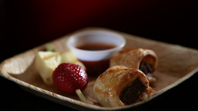 Beef and Apple Sausage Rolls with Fruit Skewers