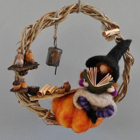 Halloween Needle Felted Waldorf  Wreath. Halloween Decoration