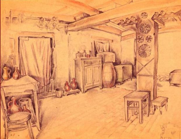 Interior of a house in Shida Kartli (South Ossetia) with a carved mother column, 1947
