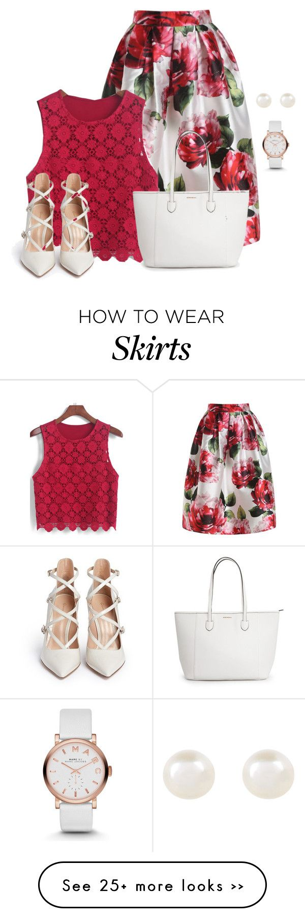 """""""Floral Flare Long Skirt"""" by allysha-fa on Polyvore featuring Accessorize, Marc by Marc Jacobs and Gianvito Rossi"""