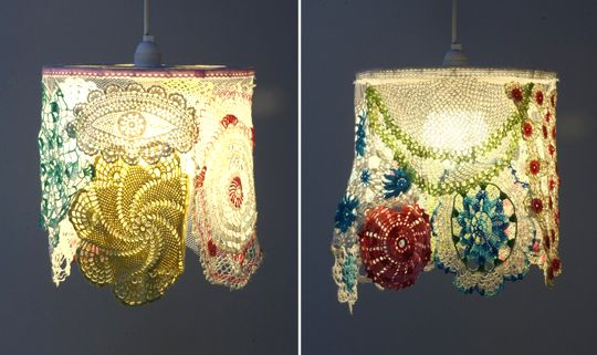 Gorgeous use for old doilies.  I want to make one of these.  Maggie  http://www.MaggiesCrochet.com
