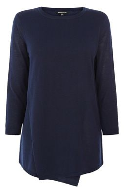 This jumper is constructed from a lightweight knit and features a round neckline, cropped sleeves and cross-over front design with asymmetric hemline. Length of top, from shoulder seam to hem, 71cm approx. Height of model shown: 5ft 10 inches/178cm. Model wears: UK size 10.Fabric:Main: 60.0% Viscose