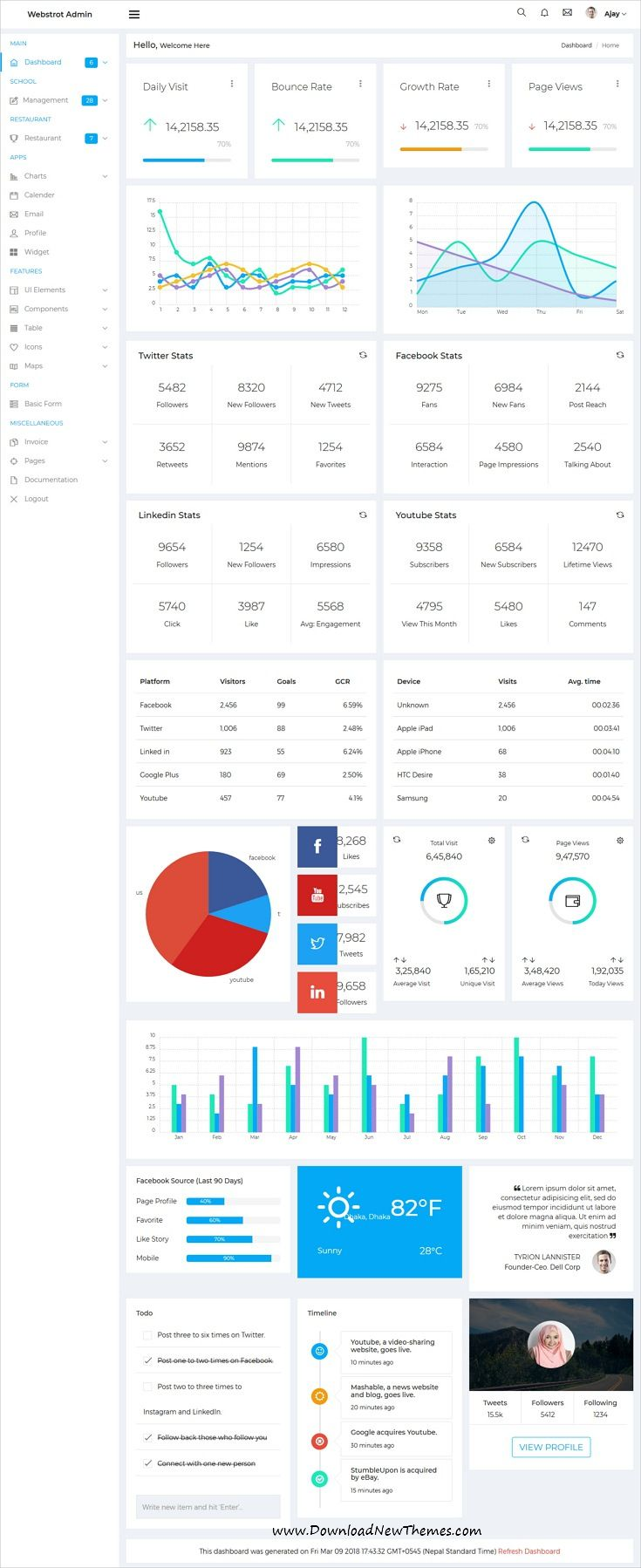 Webstrot is clean and modern design 10+ responsive #bootstrap #dashboard template for custom #admin panels, CMS, CRM, SaaS, and web applications website in dark and light versions to live preview & download click on image or Visit 👆 #ui #ux