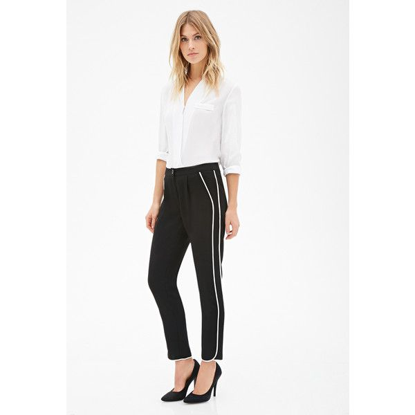 Love 21 Women's  Contemporary Tuxedo-Striped Trousers (€18) ❤ liked on Polyvore featuring pants, white tux pants, lightweight pants, pleated trousers, dinner suit and tuxedo stripe pants