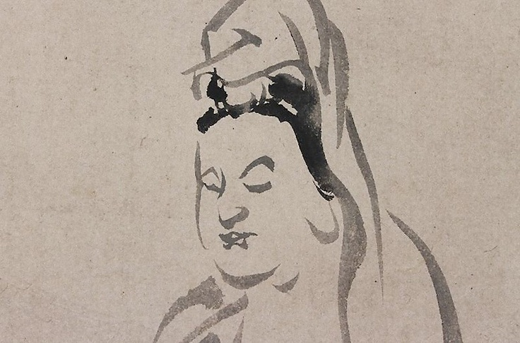 Kannon in Zen meditation seated on a rock. Painted on paper with ink. Signed Yasunobu and sealed. Kano