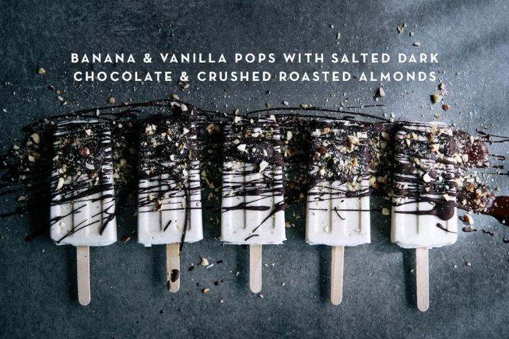 Banana & Vanilla Pops with Salted Dark Chocolate & Crushed Roasted Almonds