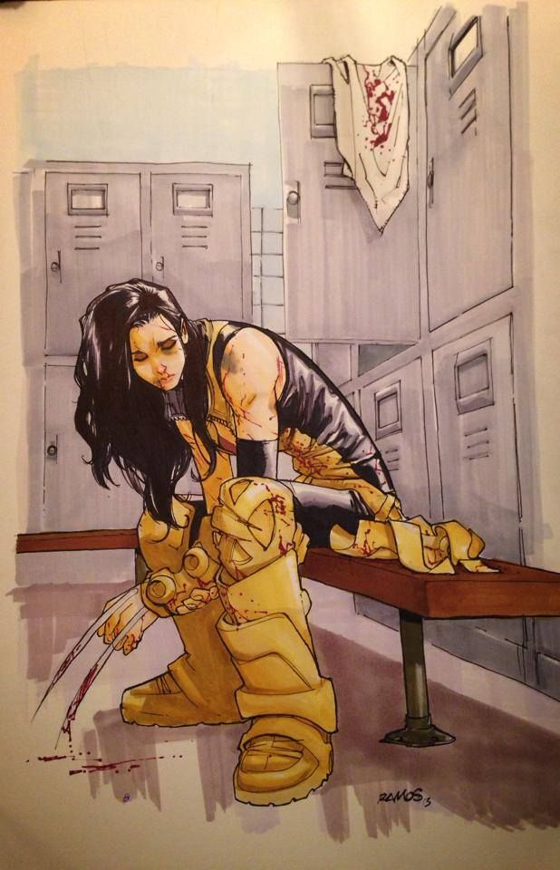 I like this image because it shows how superheroes do get injured and feel sadness, often after losing their way. I feel as though the blood on X-23's claws represent innocent blood being spilt, which represents how heroes cannot save everyone.