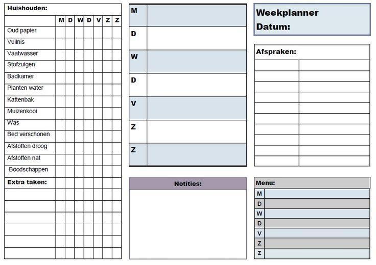 Weekplanner schoonmaak afspraken menu dagplanner notities