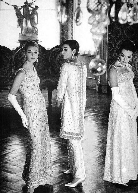 Beaded evening gowns by Pierre Balmain, French, 1966.