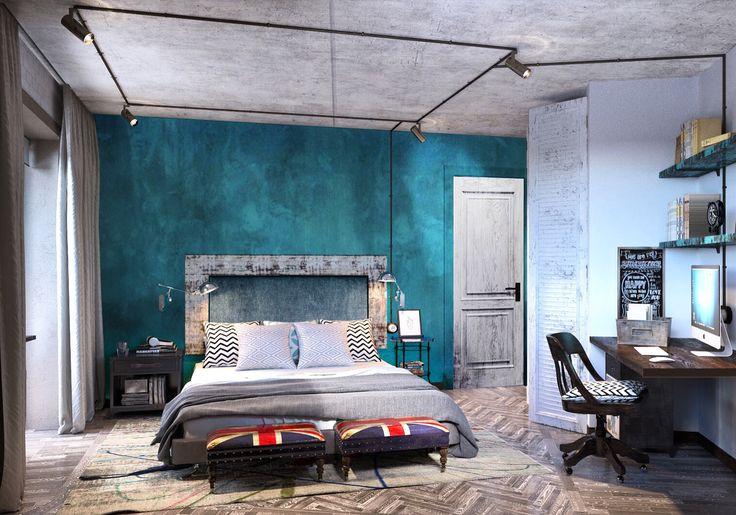 Спальня в маленькой квартире для молодого человека. Визуализация.