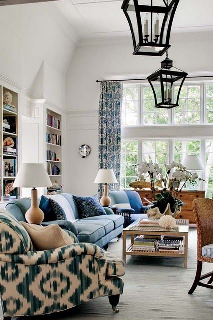 Gorgeous crisp living room with blue Ikat