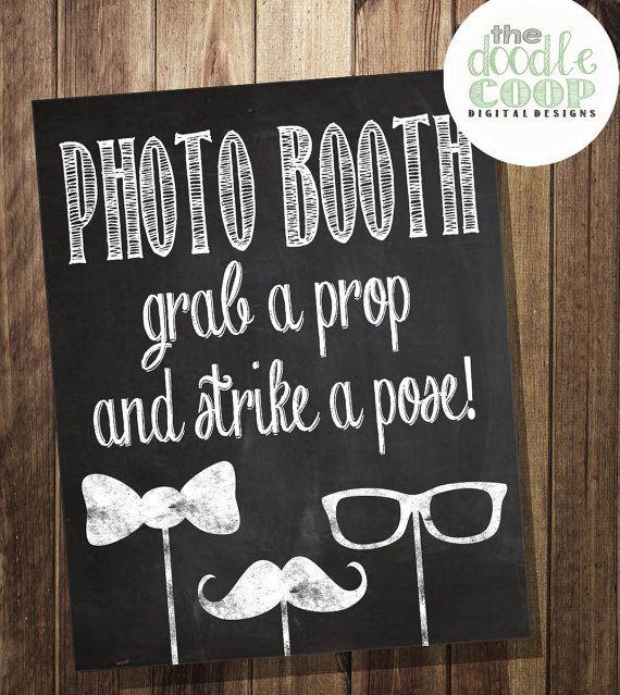 Photo Booth Prop signe mariage réception Digital par TheDoodleCoop