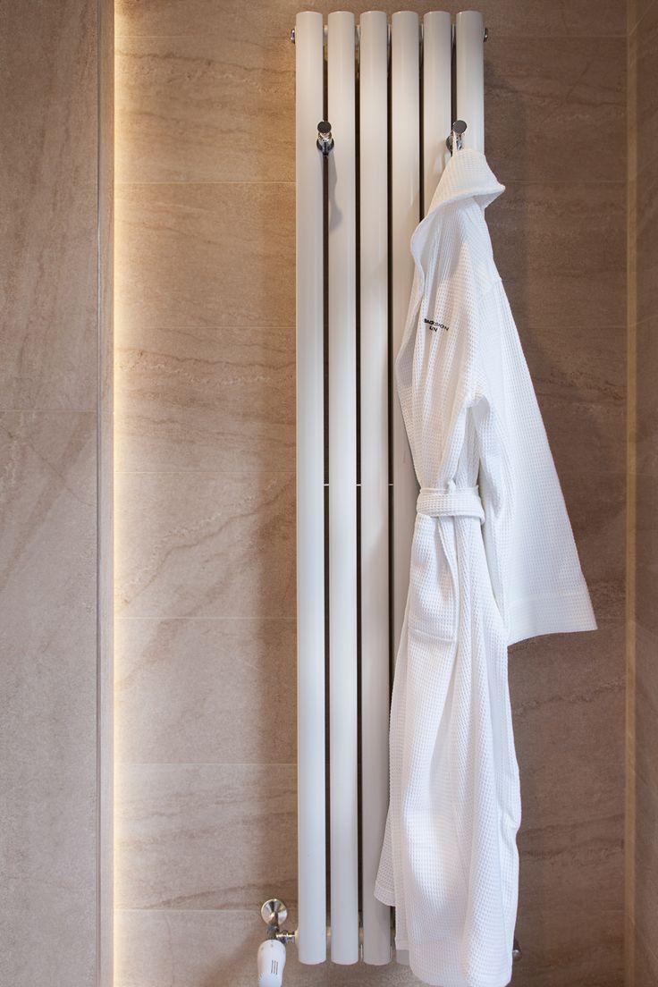 concealed LED lighting | metal strip trim | contemporary radiator with robe hooks || bagnodesignglasgow