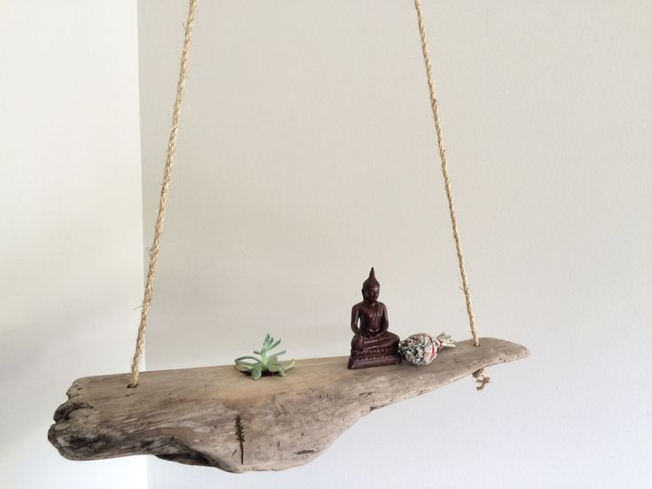 """Hangin', swayin', driftin' ↟ Kits Beach driftwood becomes a succulents new home. Hang as art - display your small treasures.↟ Succulent included↟ Top knot on rope easily adjustedLength: 21.5""""Width: Unique • 3"""" at widestHeight: 46"""""""