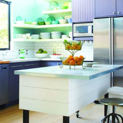 Cool and bright kitchen from Sunset Mag