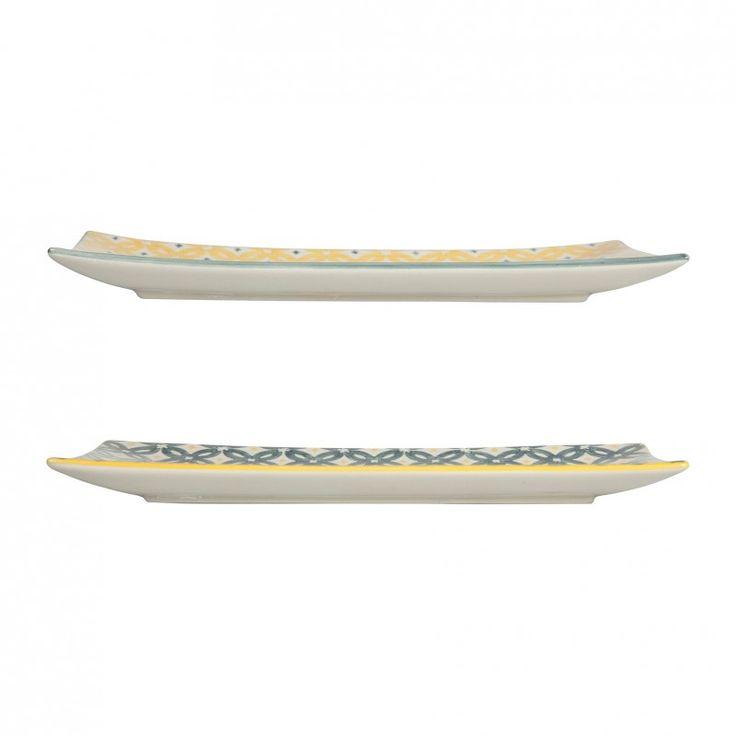 """Lot de 2 plats rectangulaires, """"collection TOMMETTES"""".  En céramique.  Pour une table chic et raffinée !  Une collection SEMA DESIGN"""