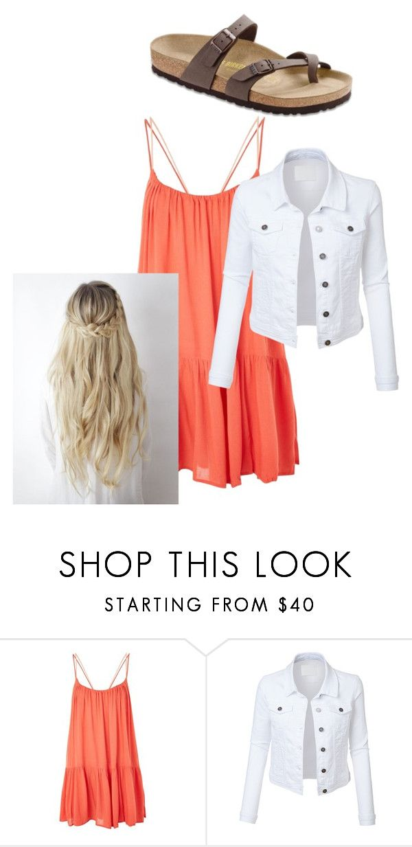 """Nice School Outfit"" by chloefaust on Polyvore featuring Topshop, LE3NO and Birkenstock"