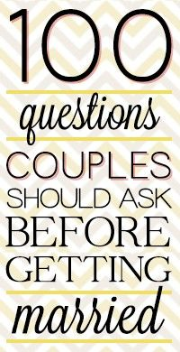 Questions You Should Ask Before Marriage: WOW!  These are great!  Just like a book I bought for marriage prep but for FREE!