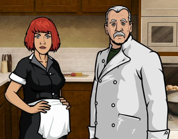 The characters of Mannfred and Uta are a possible reference to the 1994 film Leon: The Professional, where there is a curious relationship between an older hitman, Leon (played by Jean Reno), and a young girl, Mathilda (Natalie Portman, then 12 years old). The characters on this Archer episode bear striking similarities to both Jean Reno and Natalie Portman in physicality.