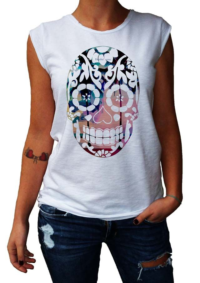 Women's T-Shirt ESOTIC SKULL - Made in Italy - 100% Cotton - SKULL COLLECTION http://www.doubleexcess.com/