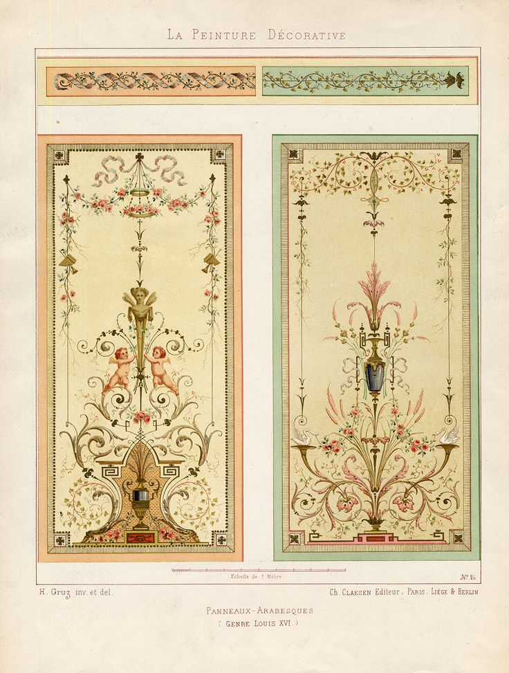 The Prints Collector :: Antique Print-DECORATION-ARABIAN PANEL-ORNAMENT-LOUIS XVI-PLATE 26-Gruz-1860