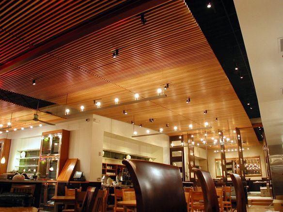 Straits cafe santana row wood ceilings and walls finish