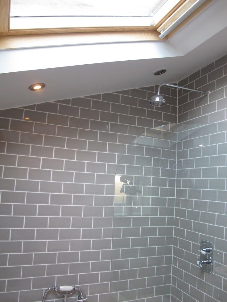 bathroom grey subway tiles bathrooms pinterest
