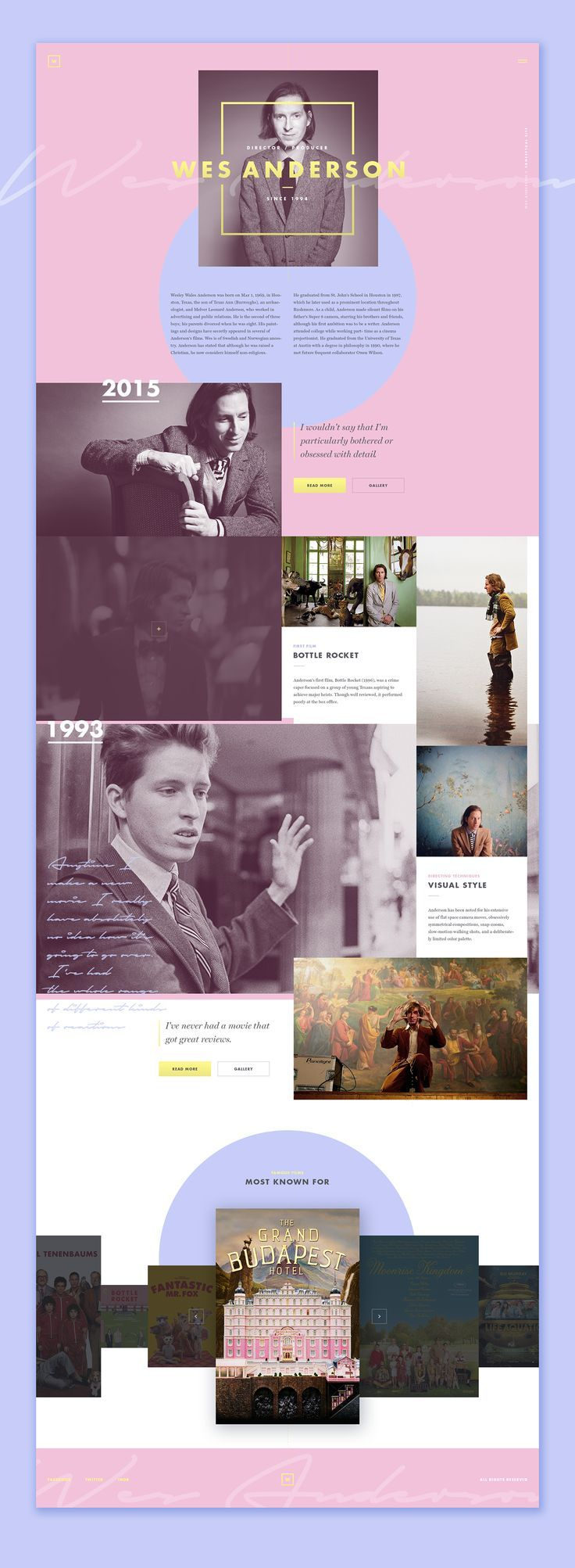 Stunning layout. Love the colors and photo placement. Wes Anderson (concept)