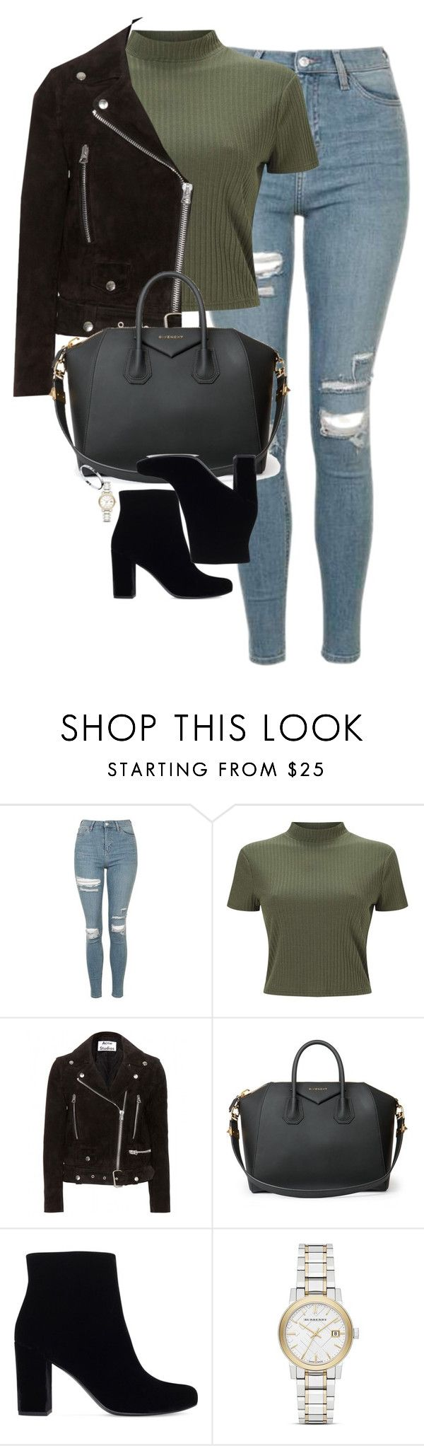 """""""Untitled #1211"""" by lovetaytay ❤ liked on Polyvore featuring Topshop, Miss Selfridge, Acne Studios, Givenchy, Yves Saint Laurent, Burberry and Cartier"""