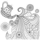 Línea diseño de arte de verter té tetera para colorear libro para adultos y otras decoraciones Gráficos Vectoriales