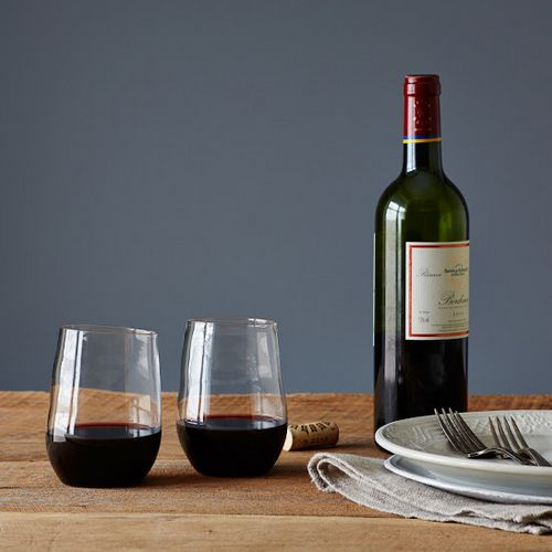 Purposely misshapen over the flame in the spirit of wabi sabi, these glasses are noticeably lighter than their standard counterparts, yet durable enough to handle a late night finishing the bottle.  http://sorrythanksiloveyou.com/accessories/vino-rosso-glasses-malfatti
