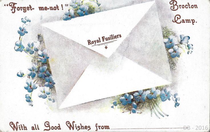 Royal Fusiliers, Forget-Me-Not Card from Brocton Camp