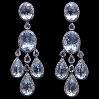 Aquamarine Earrings accompanied by 3.79 carats of Diamonds and 28.05 carats of Aquamarines. Set in 18 karat White Gold.