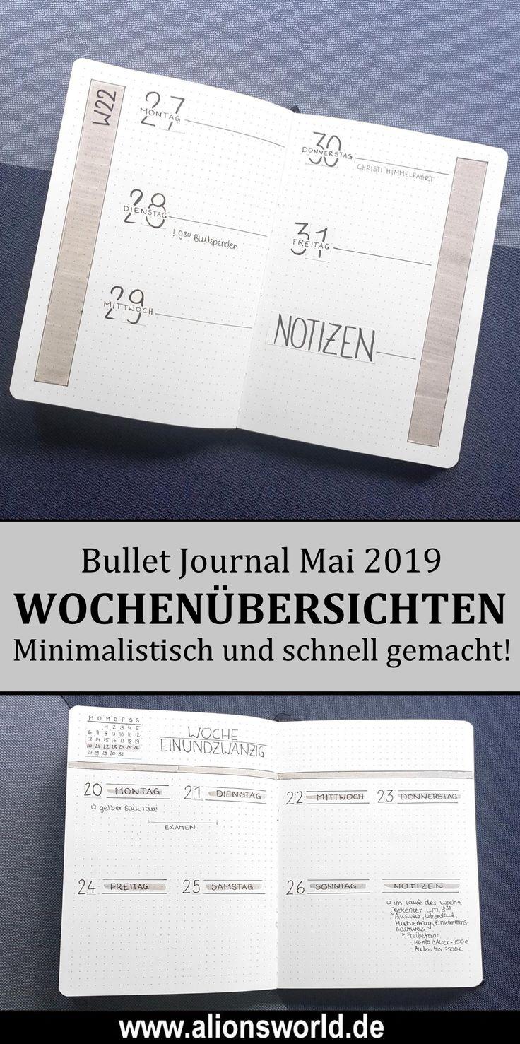 Minimalistisches Bullet Journal Mai 2019 – Weekly Spreads