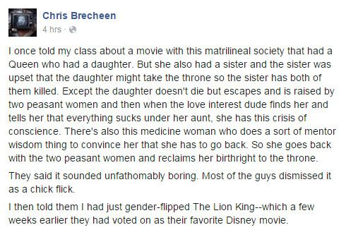 """Matrilineal society movie a """"chick flick"""". It's okay when the """"important"""" characters are all guys, but when it's all girls it's """"Feminazi bullshit"""" or boring."""