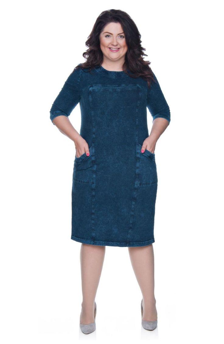 Miękka jeansowa sukienka - Modne Duże Rozmiary