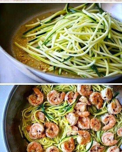 OMG look at these #zoodles (zucchini noodles) with #shrimp  by nurry_fitness