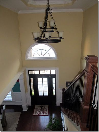 Two Story Foyer Wainscoting : Two story foyer pittsburgh paint belgian waffle butter